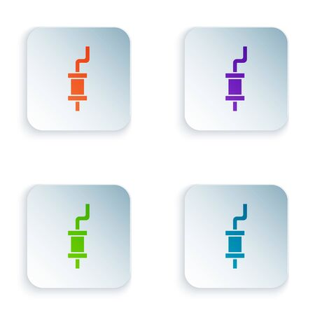 Color Car muffler icon isolated on white background. Set icons in square buttons. Vector Illustration
