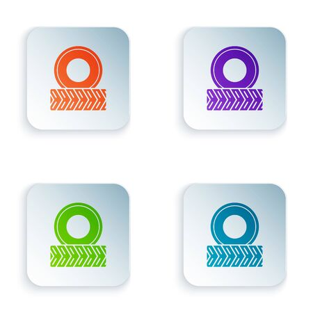 Color Car wheel icon isolated on white background. Set icons in square buttons. Vector Illustration Foto de archivo - 134875215
