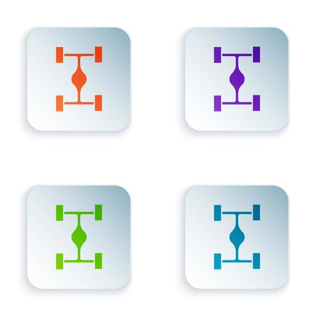 Color Chassis car icon isolated on white background. Set icons in square buttons. Vector Illustration