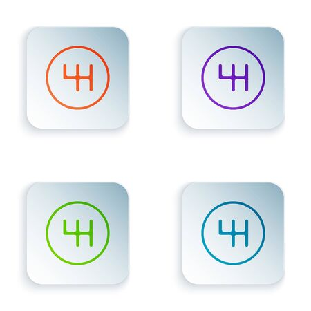 Color Gear shifter icon isolated on white background. Transmission icon. Set icons in square buttons. Vector Illustration
