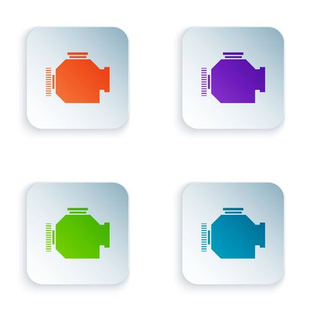 Color Check engine icon isolated on white background. Set icons in square buttons. Vector Illustration Foto de archivo - 134875226