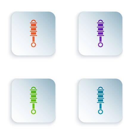 Color Shock absorber icon isolated on white background. Set icons in square buttons. Vector Illustration Foto de archivo - 134875228
