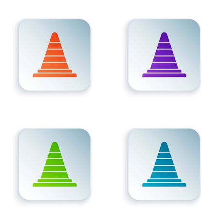 Color Traffic cone icon isolated on white background. Set icons in square buttons. Vector Illustration