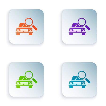 Color Car search icon isolated on white background. Magnifying glass with car. Set icons in square buttons. Vector Illustration