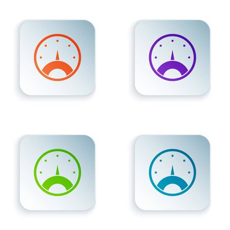 Color Speedometer icon isolated on white background. Set icons in square buttons. Vector Illustration