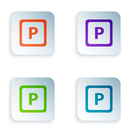 Color Parking icon isolated on white background. Street road sign. Set icons in square buttons. Vector Illustration 일러스트