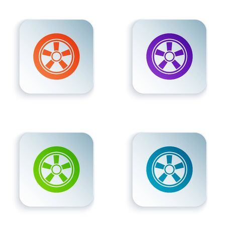 Color Car wheel icon isolated on white background. Set icons in square buttons. Vector Illustration Foto de archivo - 134875236