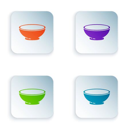 Color Bowl of hot soup icon isolated on white background. Set icons in square buttons. Vector Illustration