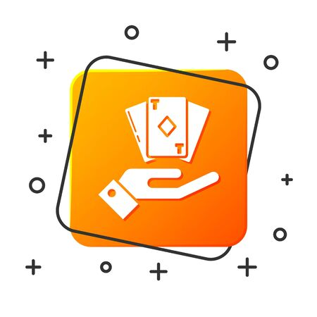 White Hand holding deck of playing cards icon isolated on white background. Casino gambling. Orange square button. Vector Illustration Illustration