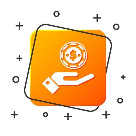 White Hand holding casino chips icon isolated on white background. Casino gambling. Orange square button. Vector Illustration