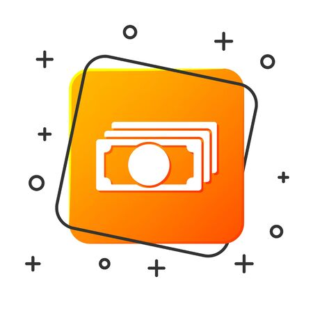 White Stacks paper money cash icon isolated on white background. Money banknotes stacks. Bill currency. Orange square button. Vector Illustration
