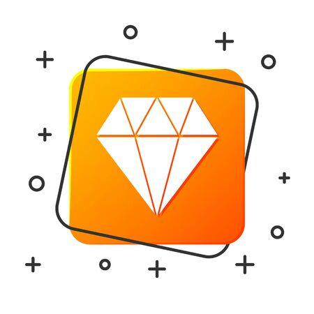 White Diamond icon isolated on white background. Jewelry symbol. Gem stone. Orange square button. Vector Illustration