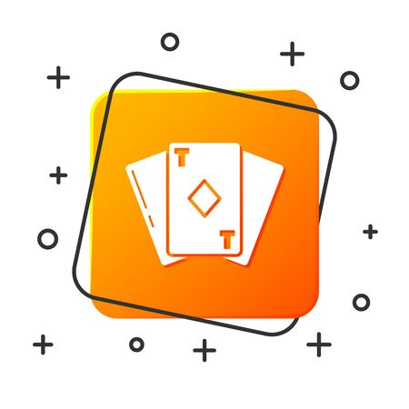 White Playing card with diamonds symbol icon isolated on white background. Casino gambling. Orange square button. Vector Illustration