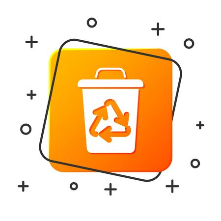 White Recycle bin with recycle symbol icon isolated on white background. Trash can icon. Garbage bin sign. Recycle basket sign. Orange square button. Vector Illustration Illusztráció
