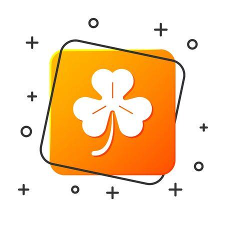 White Four leaf clover icon isolated on white background. Happy Saint Patrick day. Orange square button. Vector Illustration Illustration