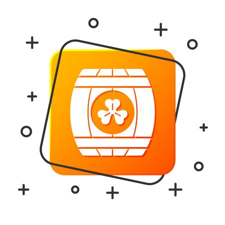 White Wooden barrel with four leaf clover icon isolated on white background. Alcohol barrel, wooden keg for beer, whiskey, wine. Orange square button. Vector Illustration
