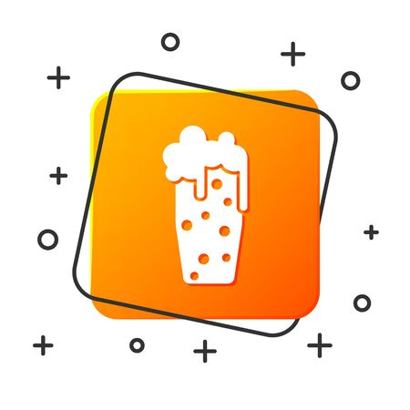 White Glass of beer icon isolated on white background. Orange square button. Vector Illustration