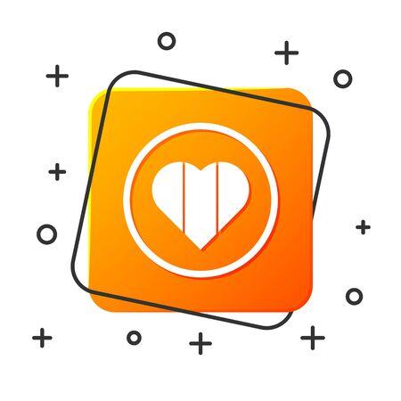White Heart icon isolated on white background. Happy Saint Patrick day. Orange square button. Vector Illustration