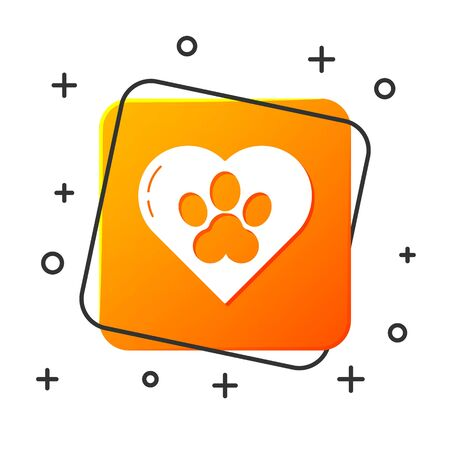 White Heart with animals footprint icon isolated on white background. Pet paw in heart. Love to the animals. Orange square button. Vector Illustration Foto de archivo - 134876111