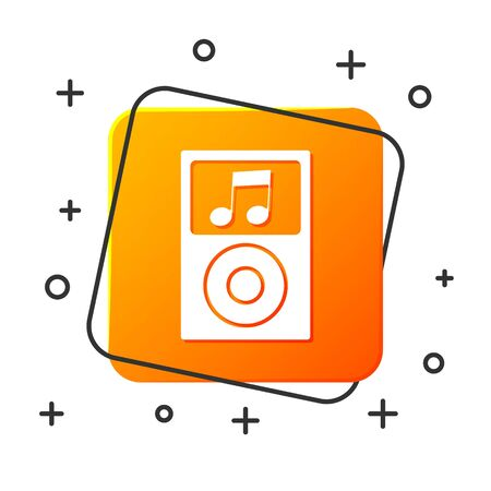 White Music player icon isolated on white background. Portable music device. Orange square button. Vector Illustration
