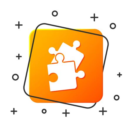 White Piece of puzzle icon isolated on white background. Business, marketing, finance, template, layout, infographics, internet concept. Orange square button. Vector Illustration Ilustracja