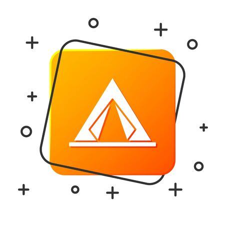 White Tourist tent icon isolated on white background. Camping symbol. Orange square button. Vector Illustration