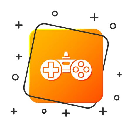 White Gamepad icon isolated on white background. Game controller. Orange square button. Vector Illustration
