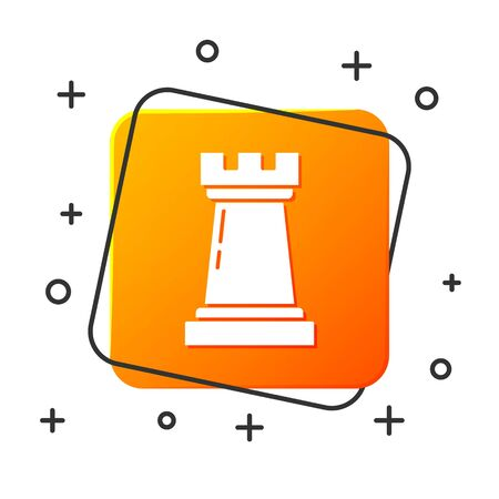 White Business strategy icon isolated on white background. Chess symbol. Game, management, finance. Orange square button. Vector Illustration Illustration
