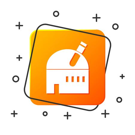 White Astronomical observatory icon isolated on white background. Observatory with a telescope. Scientific institution. Orange square button. Vector Illustration