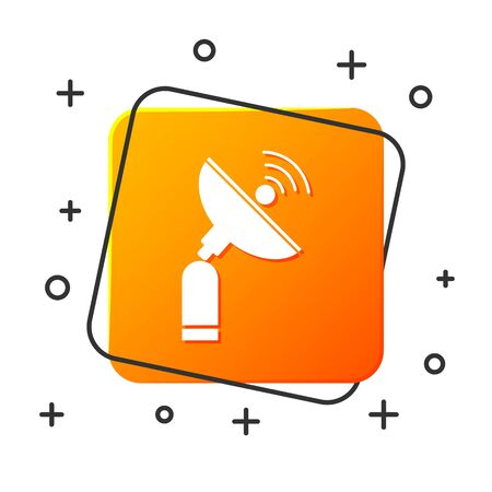 White Radar icon isolated on white background. Search system. Satellite sign. Orange square button. Vector Illustration