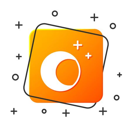 White Moon and stars icon isolated on white background. Orange square button. Vector Illustration