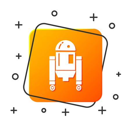 White Robot icon isolated on white background. Orange square button. Vector Illustration