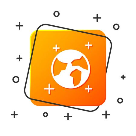White Earth globe icon isolated on white background. World or Earth sign. Global internet symbol. Geometric shapes. Orange square button. Vector Illustration
