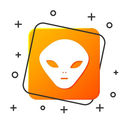 White Alien icon isolated on white background. Extraterrestrial alien face or head symbol. Orange square button. Vector Illustration Ilustracja