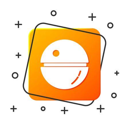 White Death star icon isolated on white background. Orange square button. Vector Illustration Ilustracja