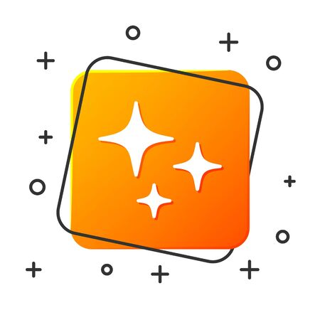 White Falling star icon isolated on white background. Shooting star with star trail. Meteoroid, meteorite, comet, asteroid, star icon. Orange square button. Vector Illustration