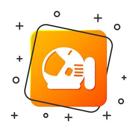 White Astronaut helmet icon isolated on white background. Orange square button. Vector Illustration