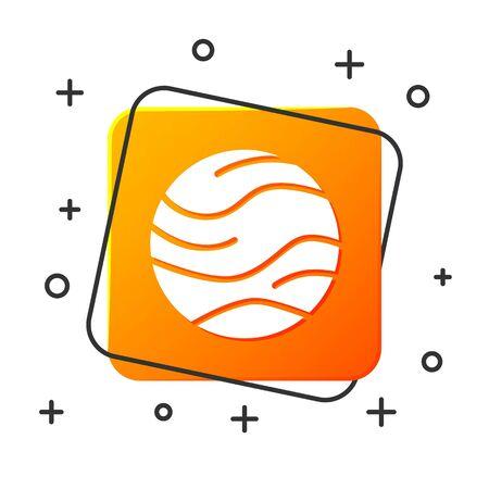 White Planet icon isolated on white background. Orange square button. Vector Illustration