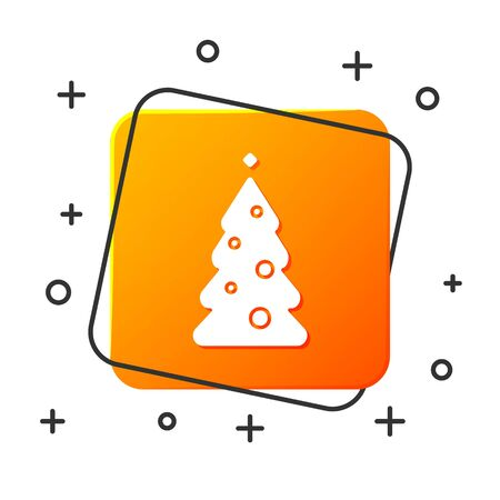 White Christmas tree with decorations icon isolated on white background. Merry Christmas and Happy New Year. Orange square button. Vector Illustration
