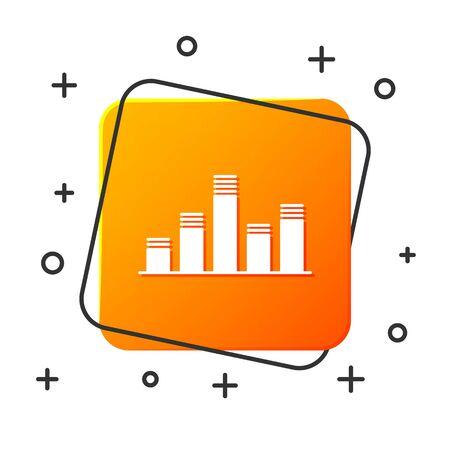 White Music equalizer icon isolated on white background. Sound wave. Audio digital equalizer technology, console panel, pulse musical. Orange square button. Vector Illustration Ilustracja