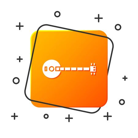 White Banjo icon isolated on white background. Musical instrument. Orange square button. Vector Illustration Ilustracja