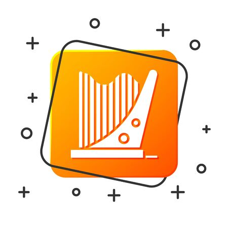 White Harp icon isolated on white background. Classical music instrument, orhestra string acoustic element. Orange square button. Vector Illustration