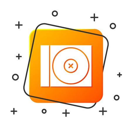 White CD or DVD disk icon isolated on white background. Compact disc sign. Orange square button. Vector Illustration