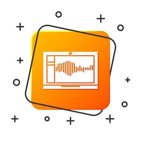 White Sound or audio recorder or editor software on laptop icon isolated on white background. Orange square button. Vector Illustration Illusztráció