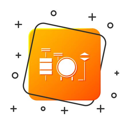 White Drums icon isolated on white background. Music sign. Musical instrument symbol. Orange square button. Vector Illustration