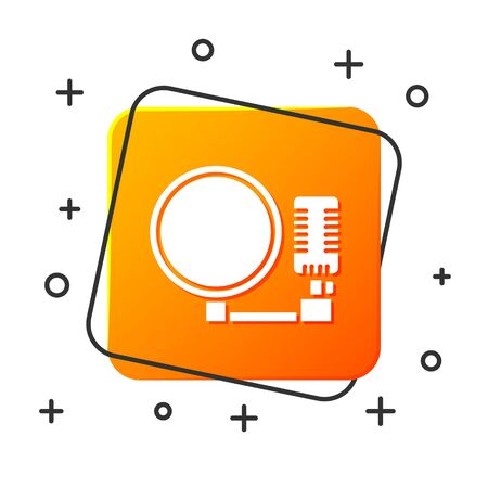 White Microphone icon isolated on white background. On air radio mic microphone. Speaker sign. Orange square button. Vector Illustration Ilustracja