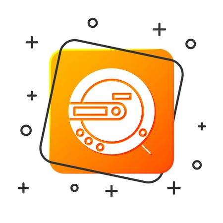White Music CD player icon isolated on white background. Portable music device. Orange square button. Vector Illustration