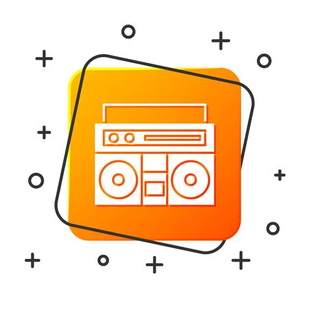 White Home stereo with two speakers icon isolated on white background. Music system. Orange square button. Vector Illustration