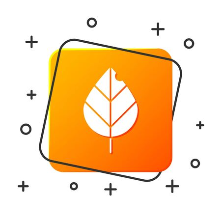 White Leaf icon isolated on white background. Fresh natural product symbol. Orange square button. Vector Illustration 일러스트