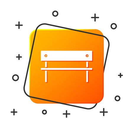 White Bench icon isolated on white background. Orange square button. Vector Illustration Stock Illustratie